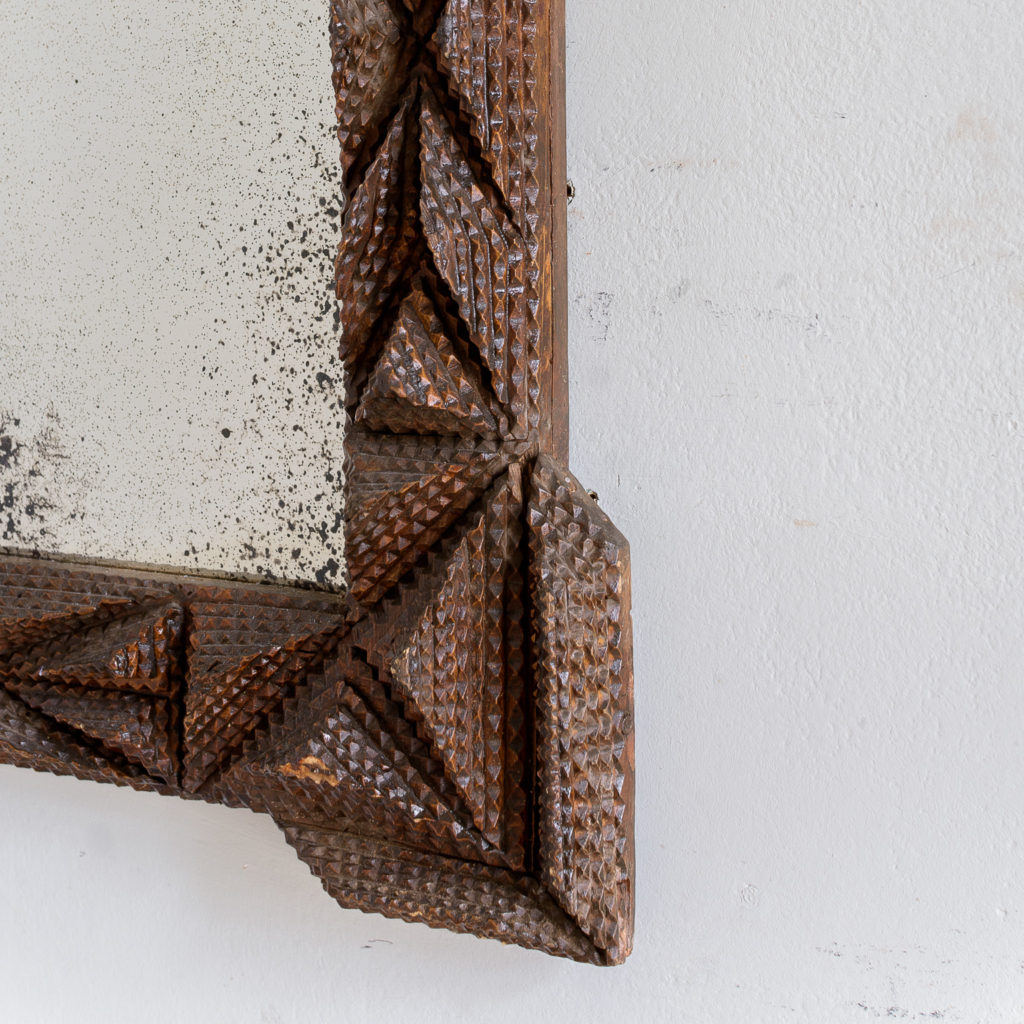 French carved 'tramp-art' wall mirror, -137665