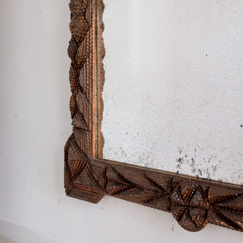 French carved 'tramp-art' wall mirror, -137666