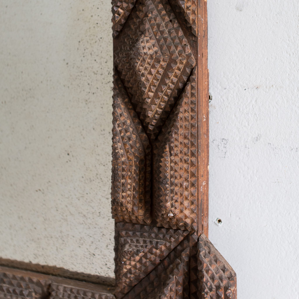 French carved 'tramp-art' wall mirror, -137660