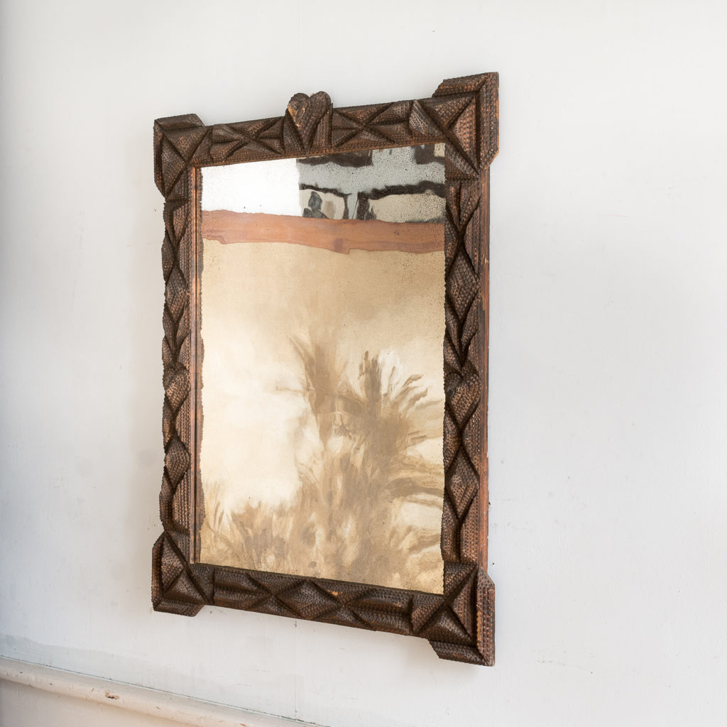 French carved 'tramp-art' wall mirror, -137651