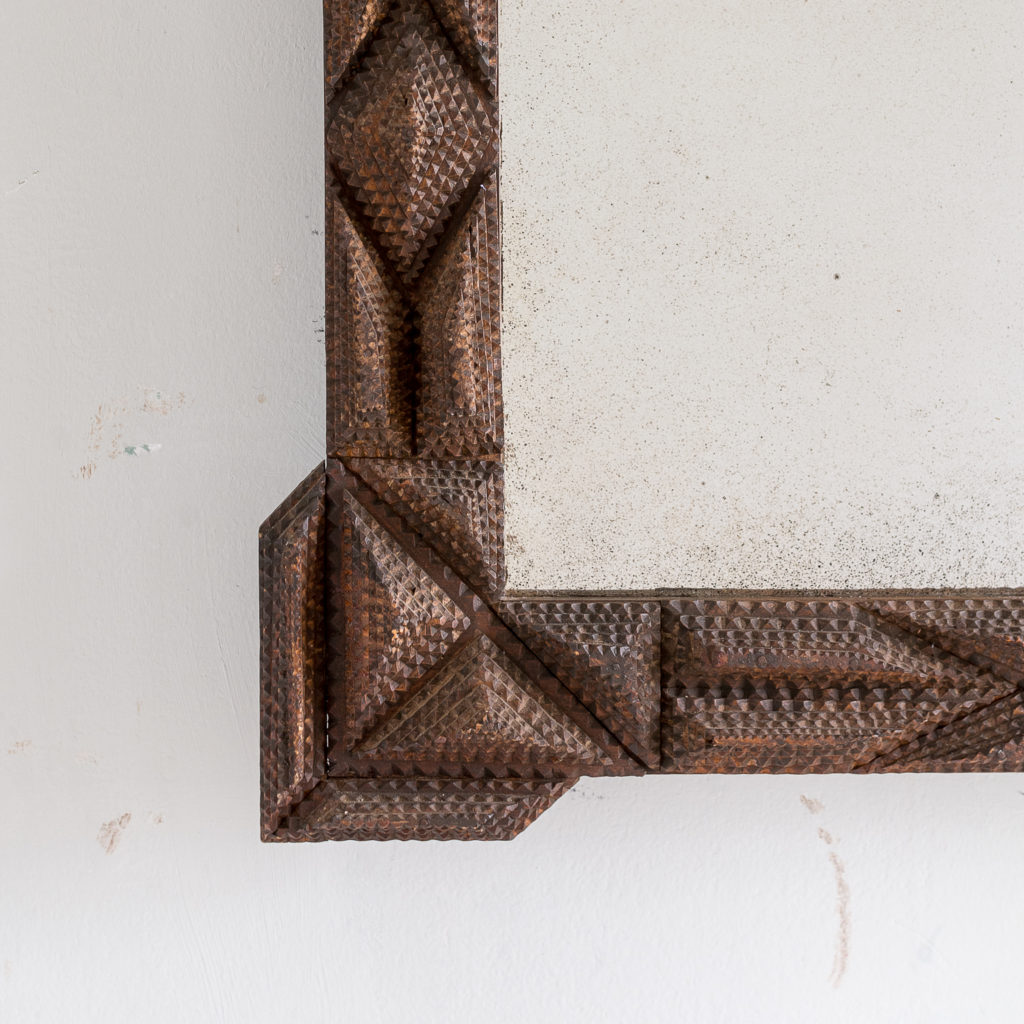 French carved 'tramp-art' wall mirror, -137657