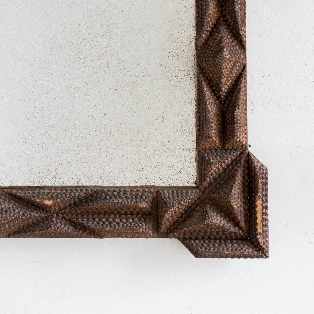 French carved 'tramp-art' wall mirror, -137658
