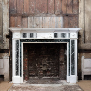 George III style Statuary and Verde Antico marble chimneypiece,
