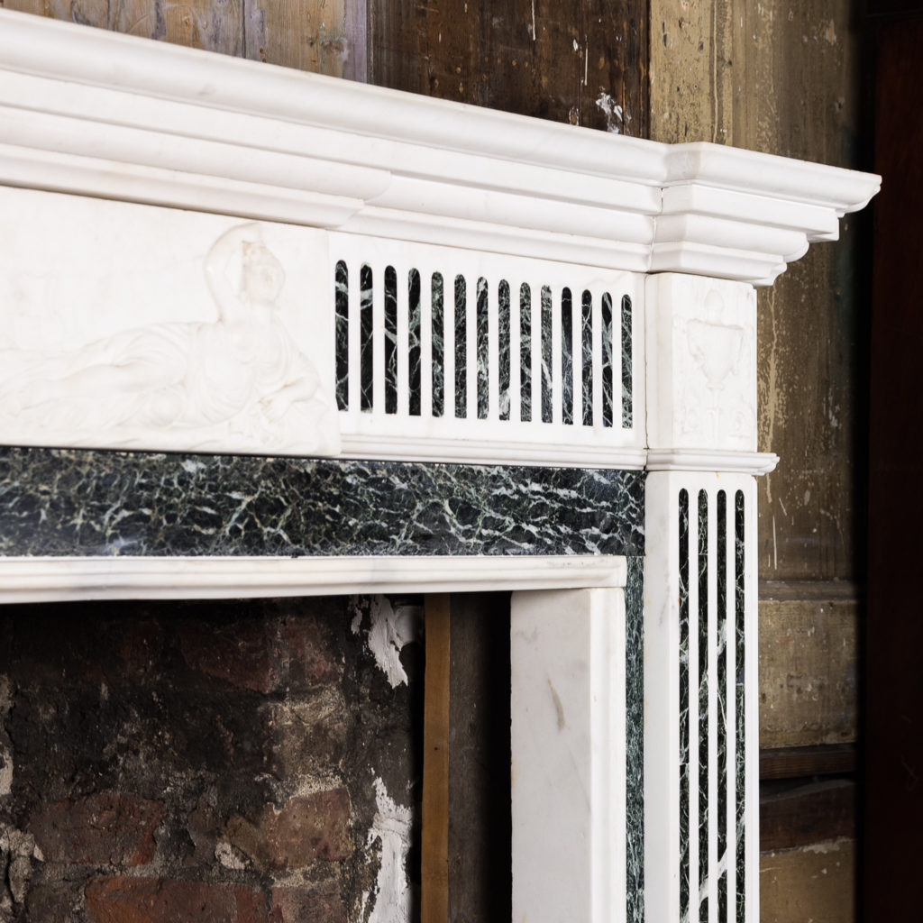George III style Statuary and Verde Antico marble chimneypiece,-137842