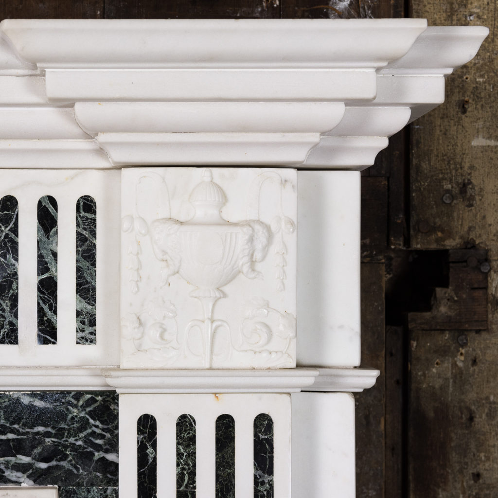 George III style Statuary and Verde Antico marble chimneypiece,-137845