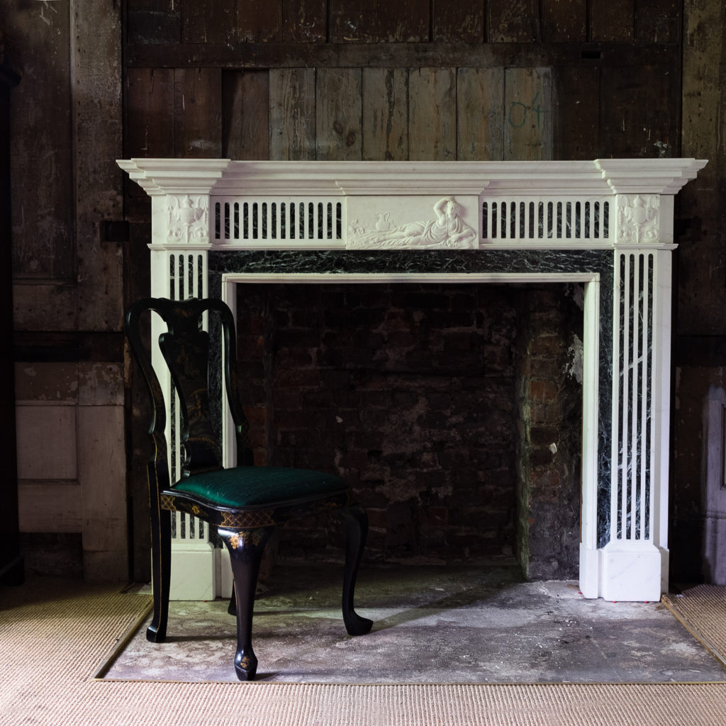 George III style Statuary and Verde Antico marble chimneypiece,-137848