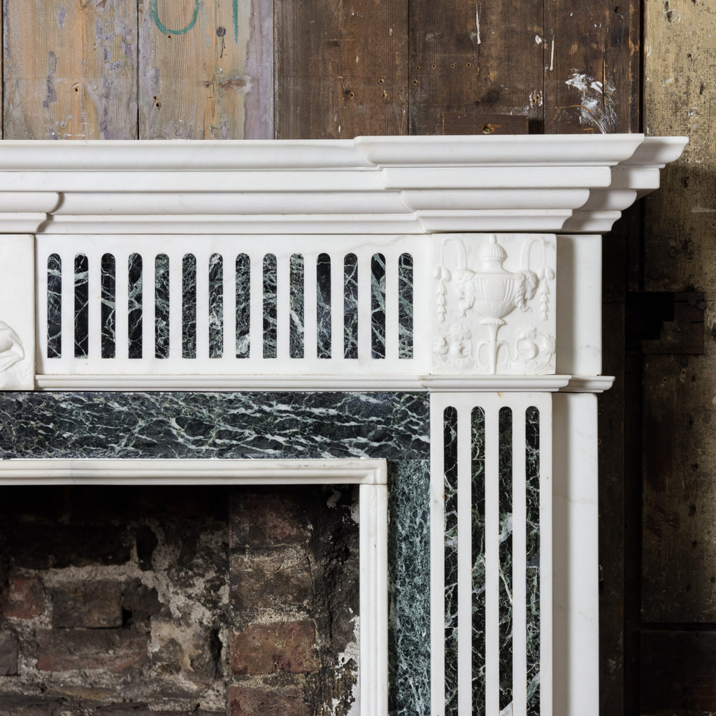 George III style Statuary and Verde Antico marble chimneypiece,-137834