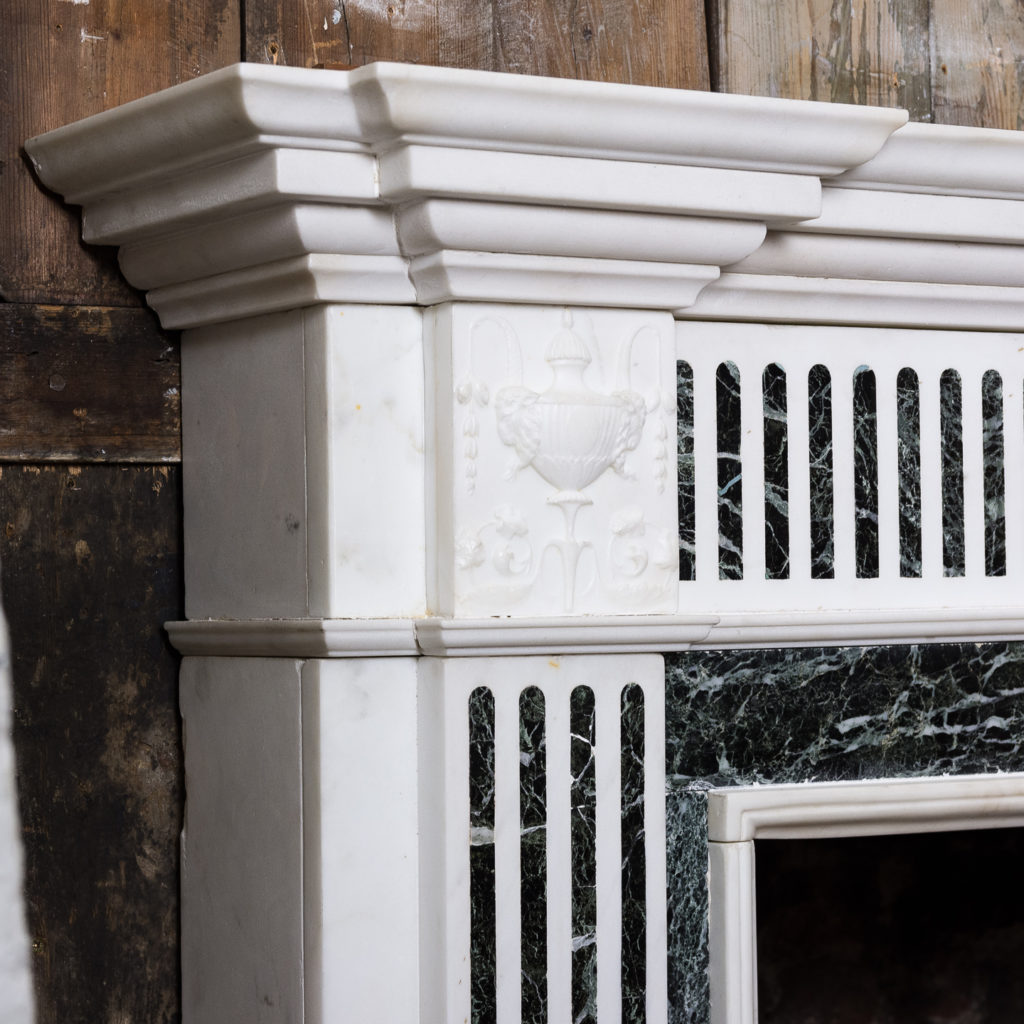 George III style Statuary and Verde Antico marble chimneypiece,-137837