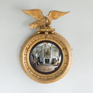 Large nineteenth century gilt convex mirror,