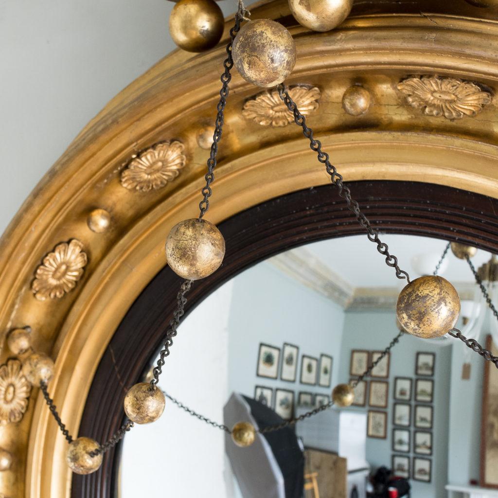 Large nineteenth century gilt convex mirror, -137672