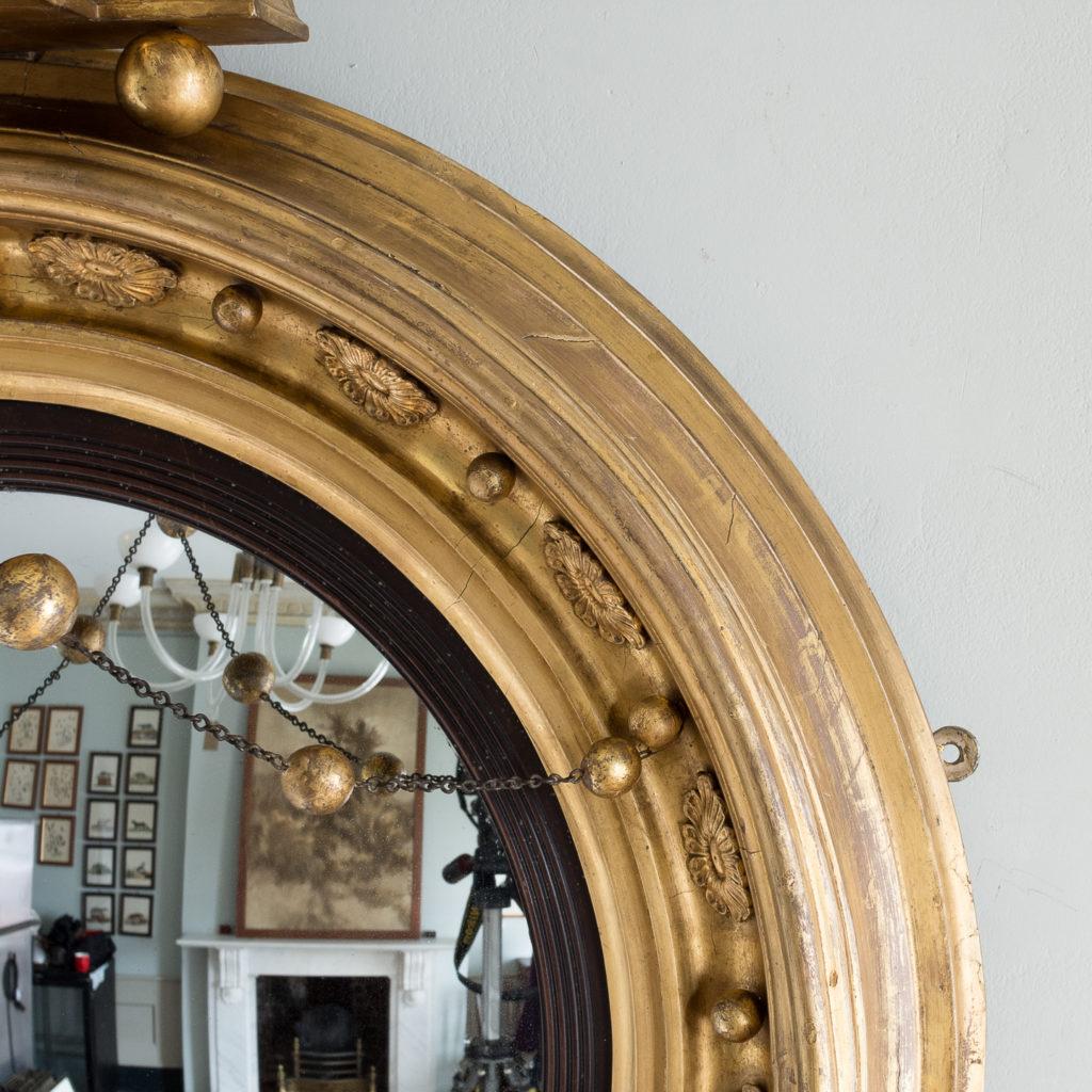 Large nineteenth century gilt convex mirror, -137675
