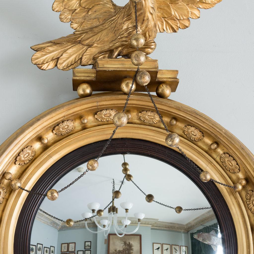 Large nineteenth century gilt convex mirror, -137679