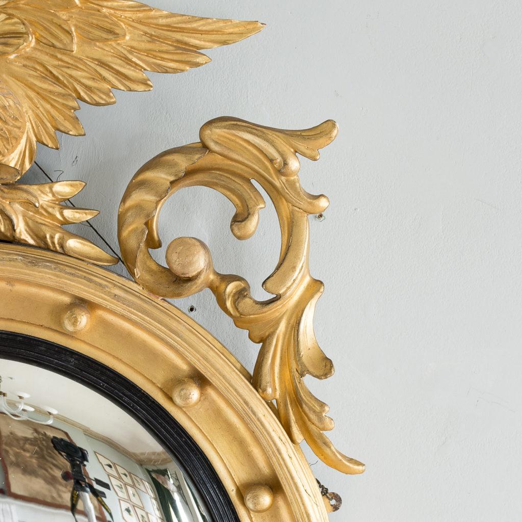 Regency style giltwood convex mirror, -137686