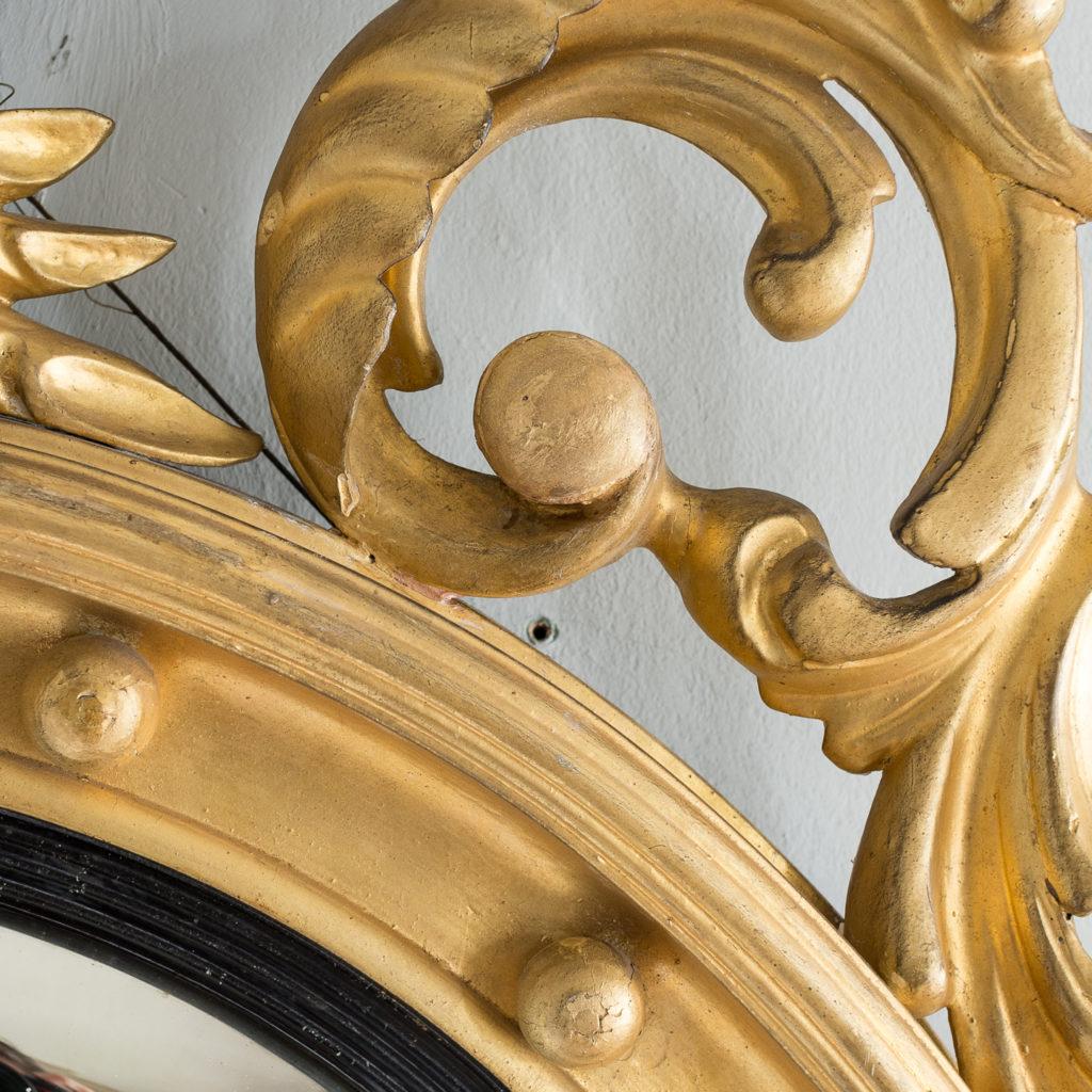 Regency style giltwood convex mirror, -137687