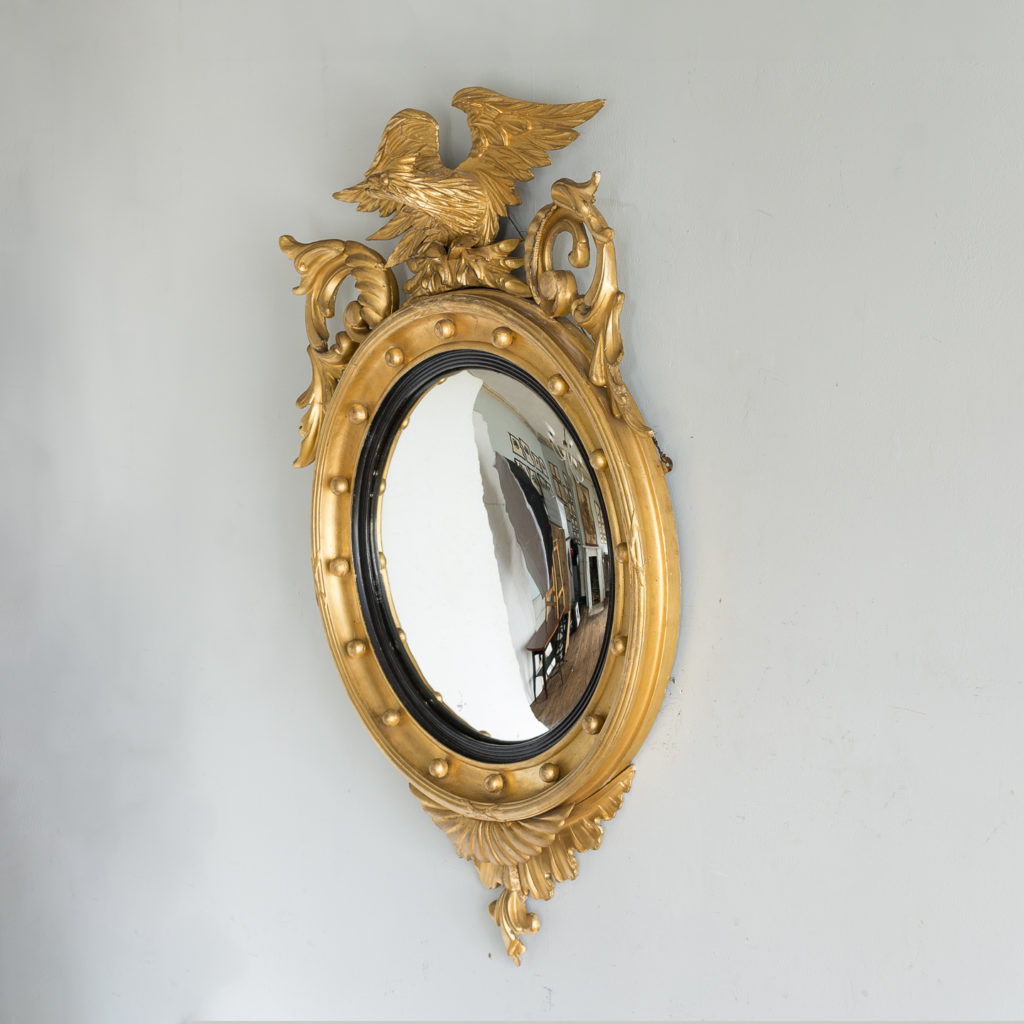 Regency style giltwood convex mirror, -137685
