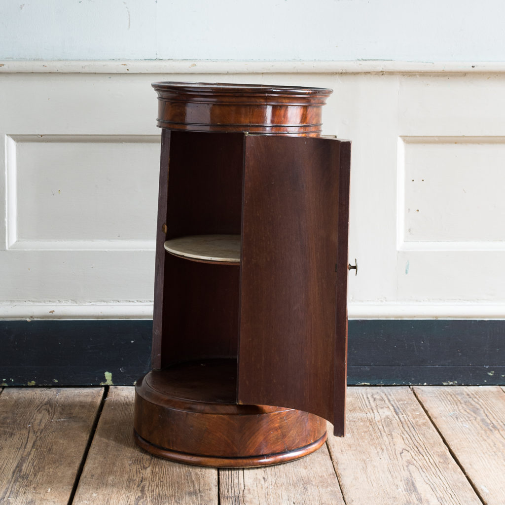 Nineteenth century flame mahogany cylindrical pot cupboard,-137971