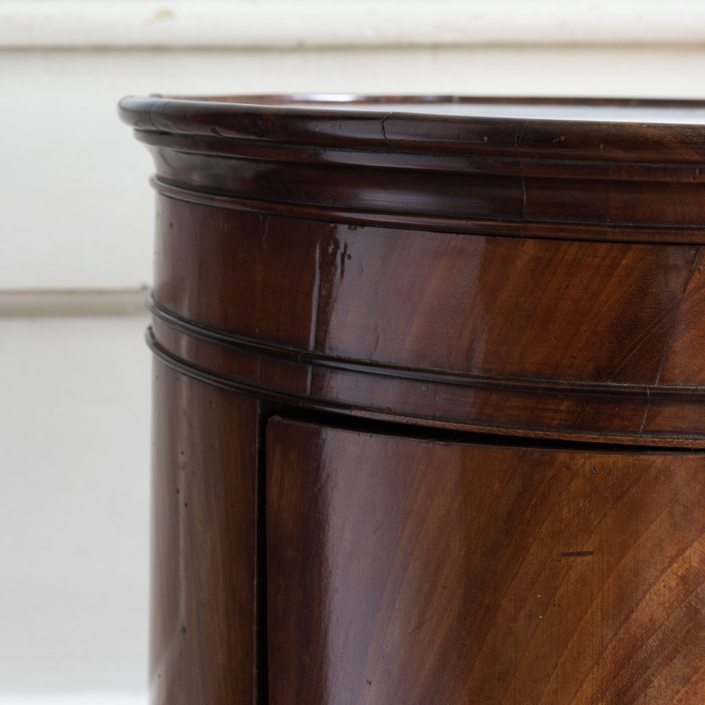 Nineteenth century flame mahogany cylindrical pot cupboard,-137973