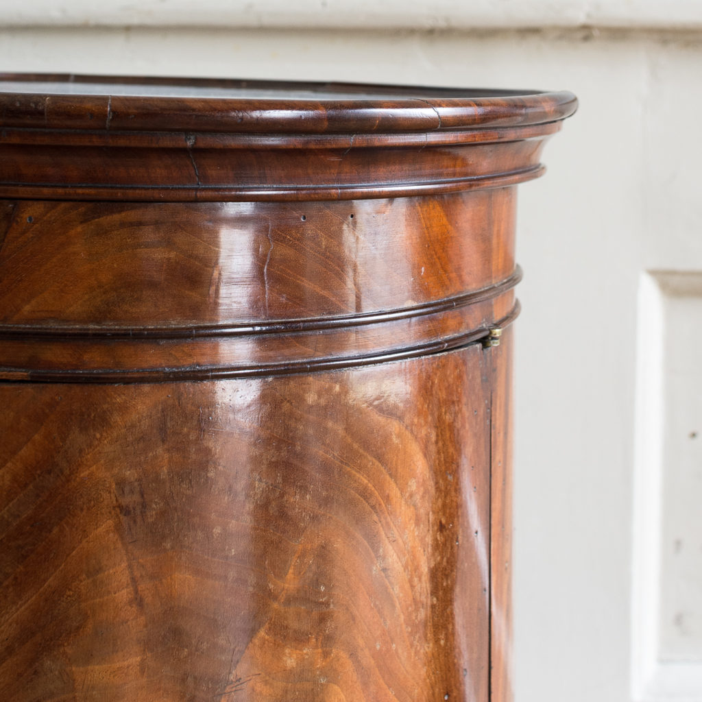 Nineteenth century flame mahogany cylindrical pot cupboard,-137974
