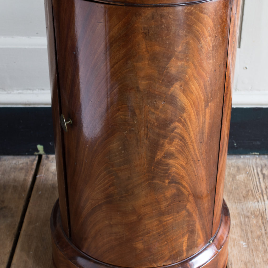 Nineteenth century flame mahogany cylindrical pot cupboard,-137982