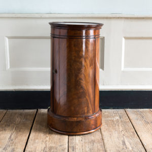 Nineteenth century flame mahogany cylindrical pot cupboard,