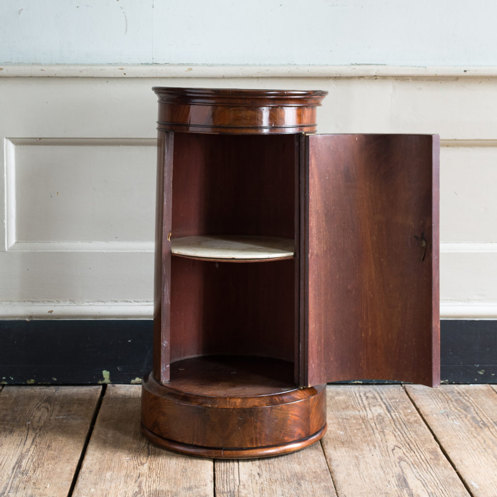 Nineteenth century flame mahogany cylindrical pot cupboard,-137966