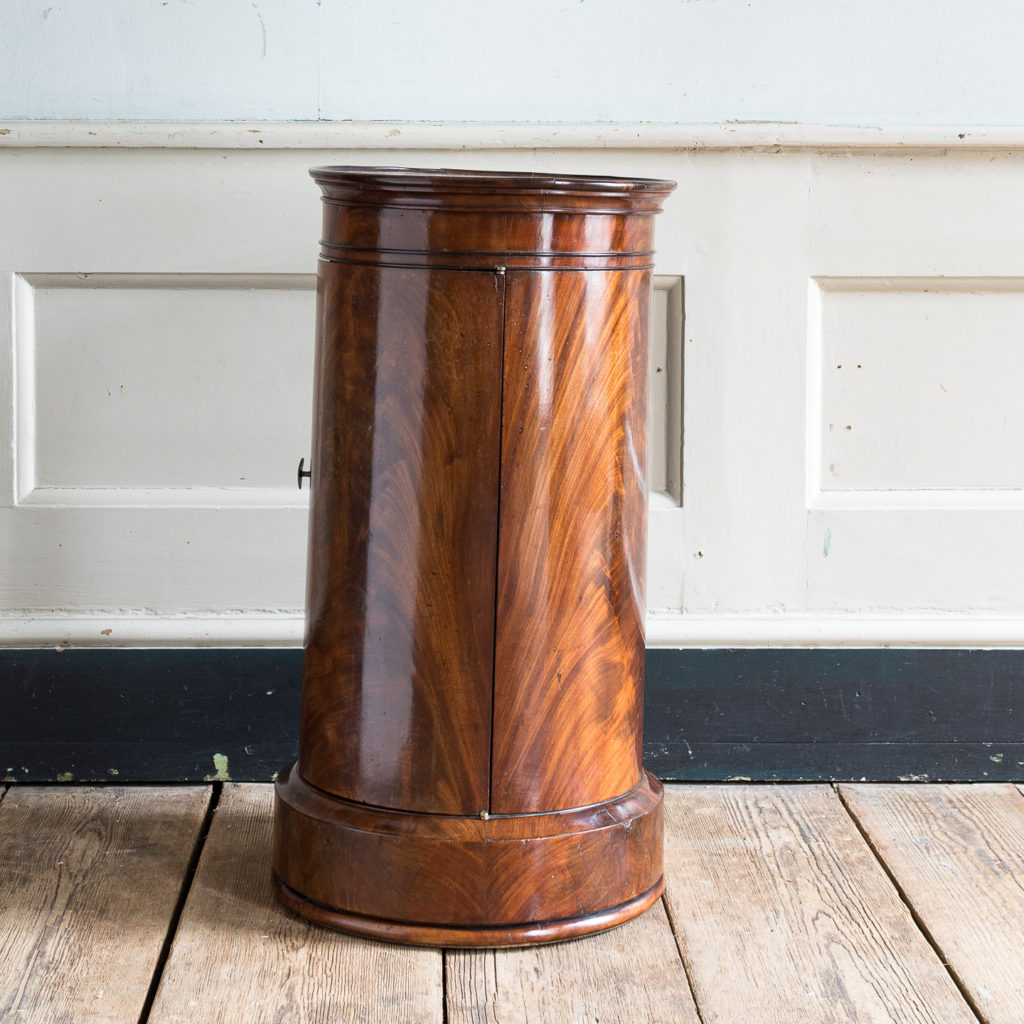 Nineteenth century flame mahogany cylindrical pot cupboard,-137970