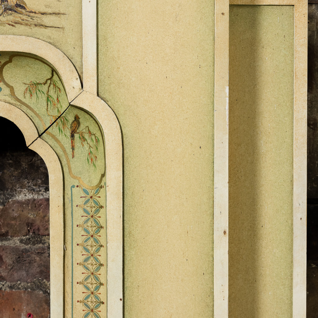 Chinoiserie Art Deco hand painted and parcel-gilt chimneypiece,-137602