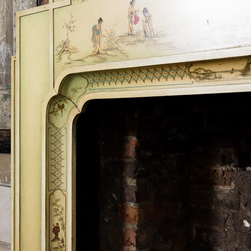 Chinoiserie Art Deco hand painted and parcel-gilt chimneypiece,-137604