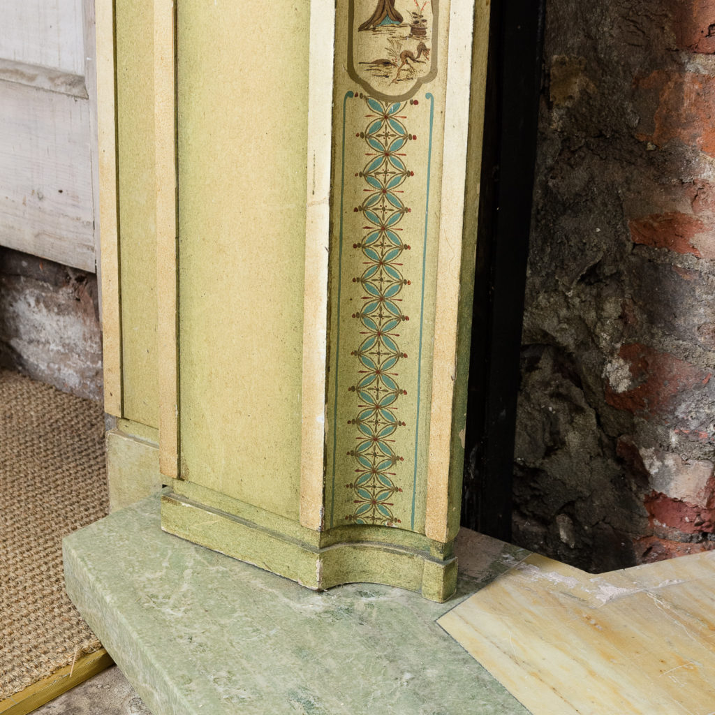 Chinoiserie Art Deco hand painted and parcel-gilt chimneypiece,-137605