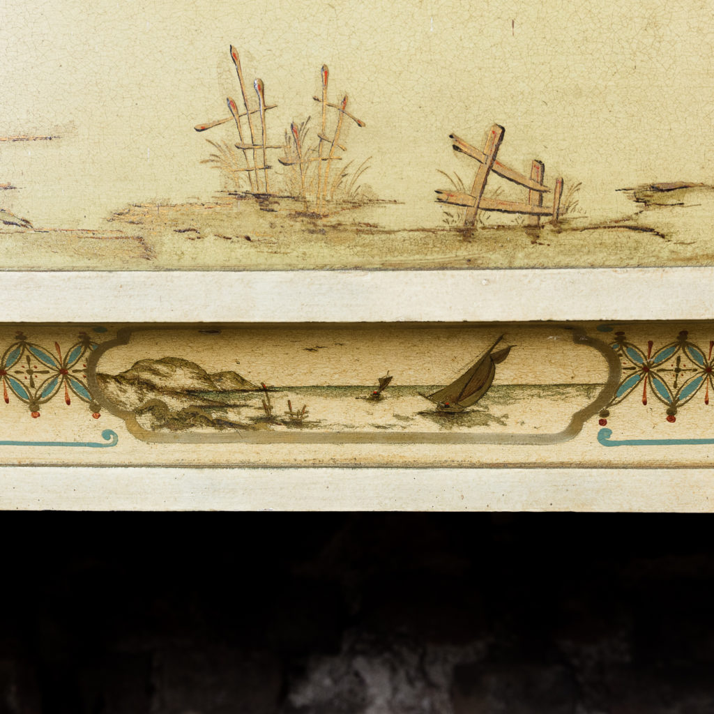 Chinoiserie Art Deco hand painted and parcel-gilt chimneypiece,-137607