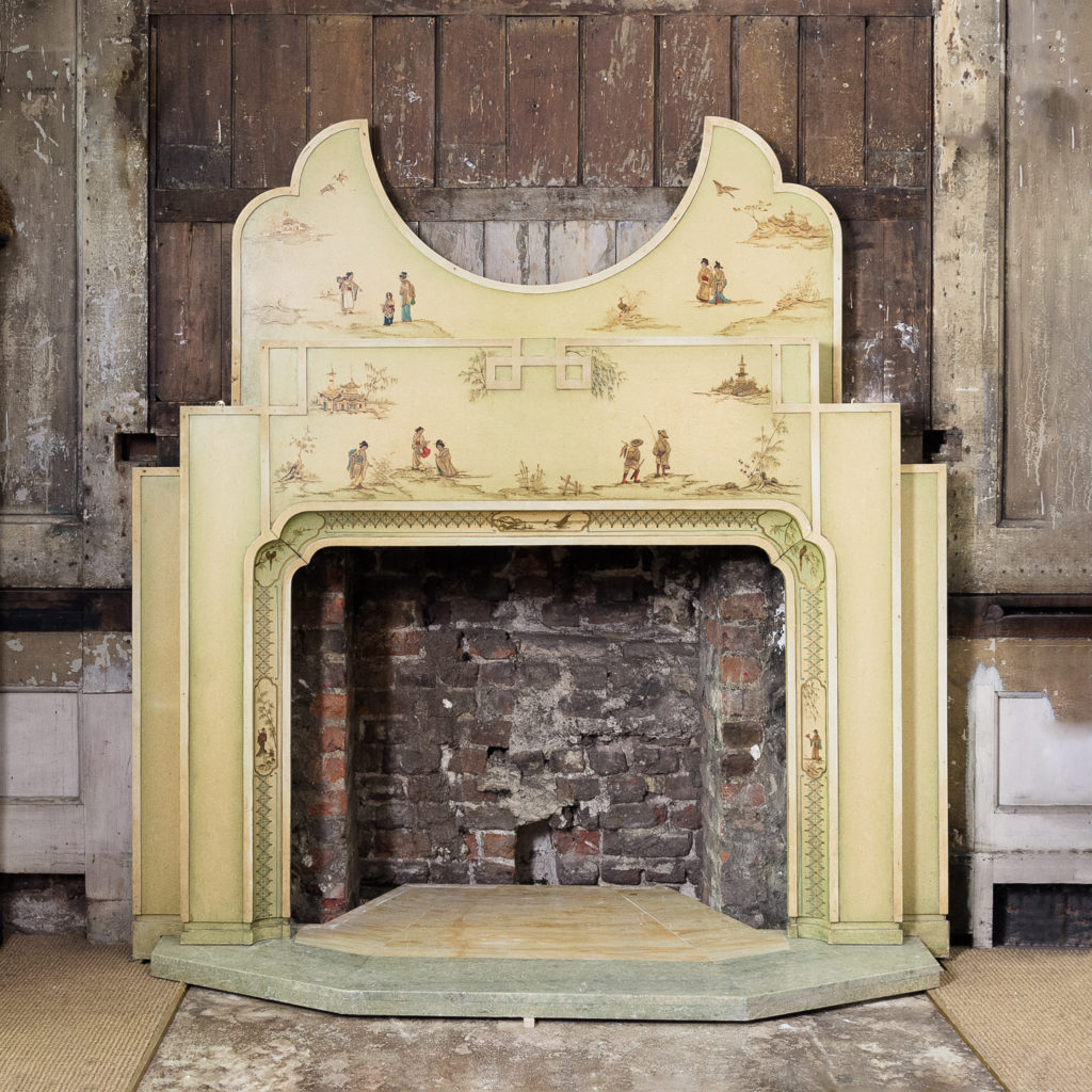 Chinoiserie Art Deco hand painted and parcel-gilt chimneypiece,