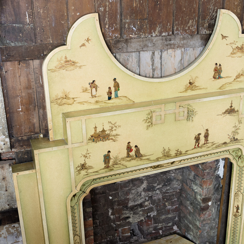 Chinoiserie Art Deco hand painted and parcel-gilt chimneypiece,-137612