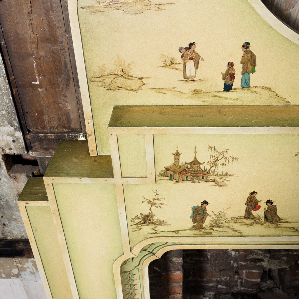 Chinoiserie Art Deco hand painted and parcel-gilt chimneypiece,-137613