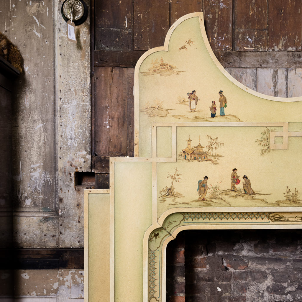 Chinoiserie Art Deco hand painted and parcel-gilt chimneypiece,-137595