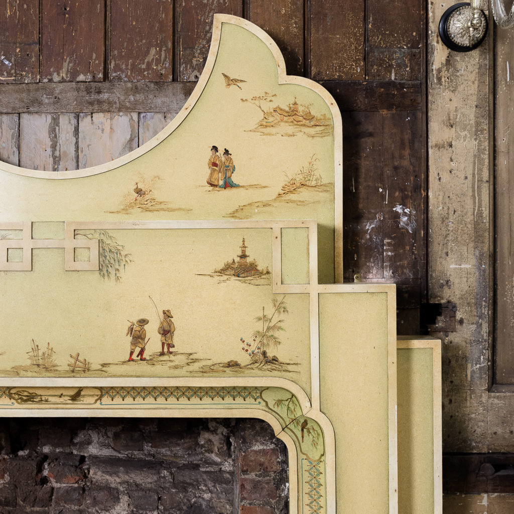 Chinoiserie Art Deco hand painted and parcel-gilt chimneypiece,-137593