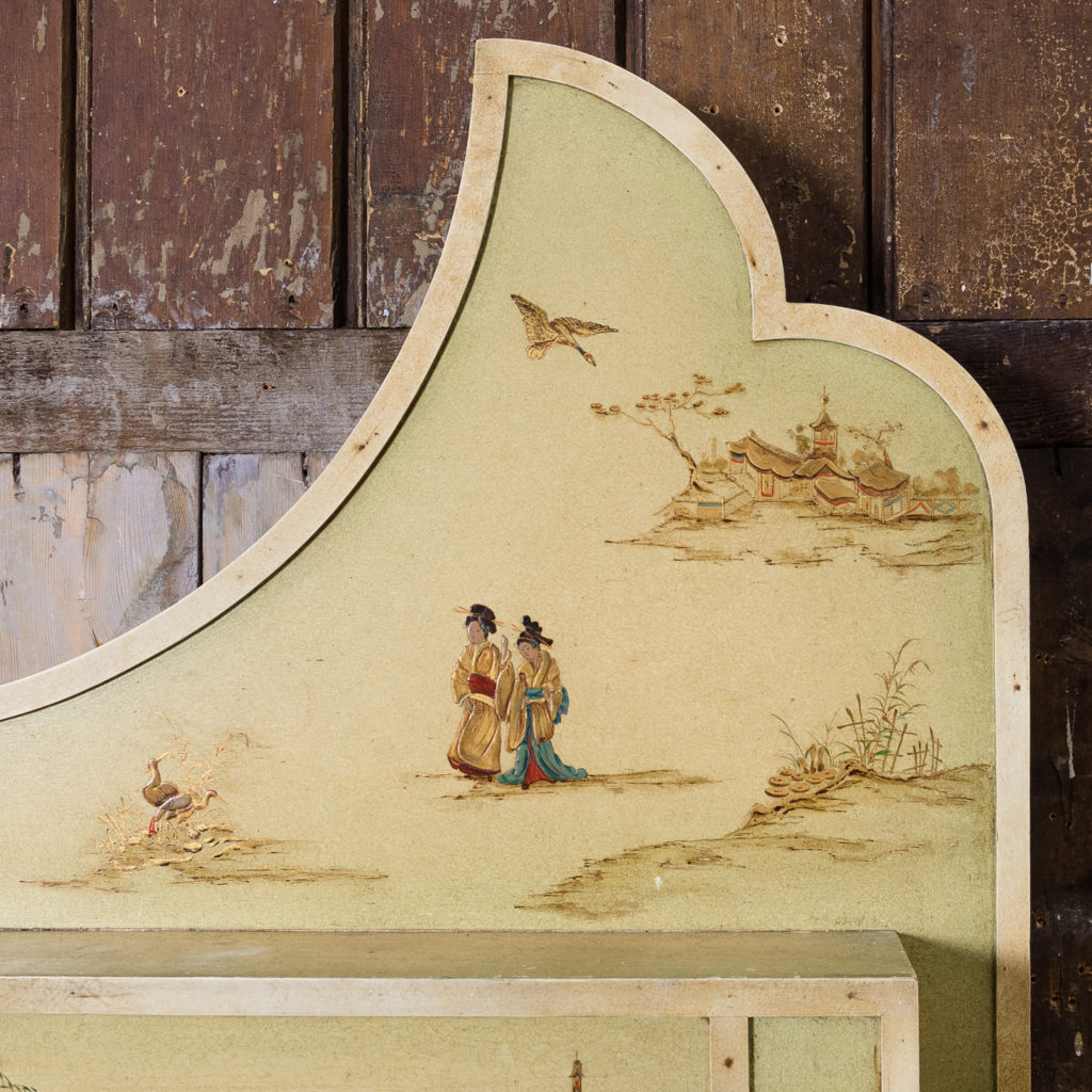 Chinoiserie Art Deco hand painted and parcel-gilt chimneypiece,-137596