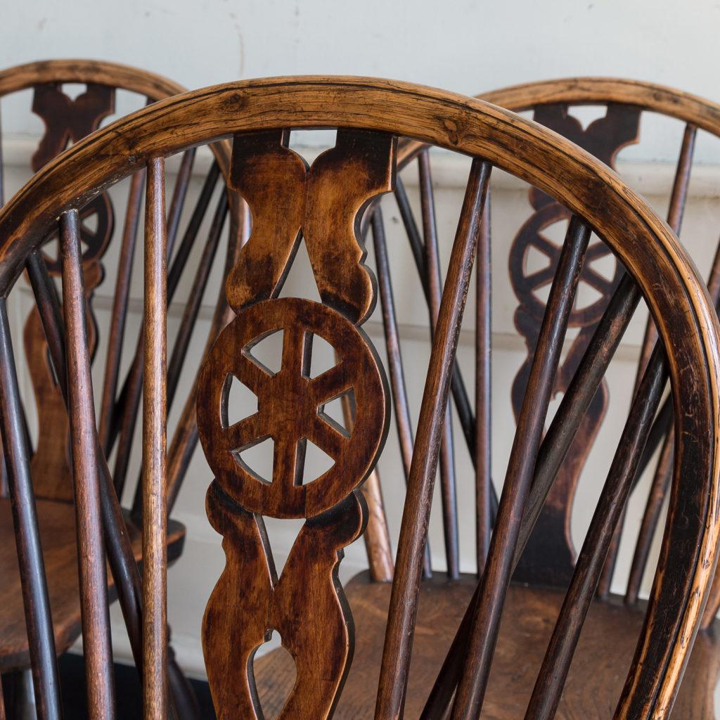 Set of four nineteenth century wheelback Windsor chairs,-137952