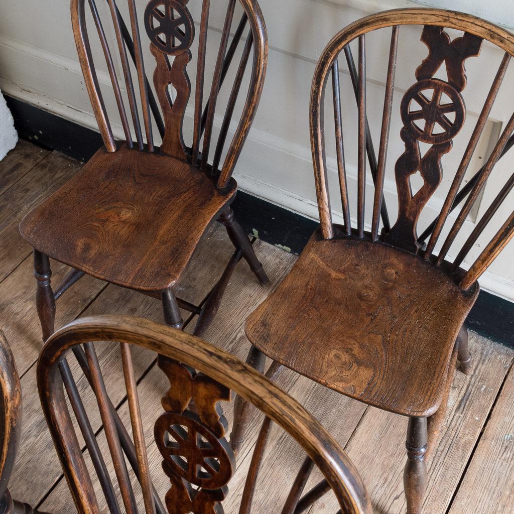 Set of four nineteenth century wheelback Windsor chairs,-137956