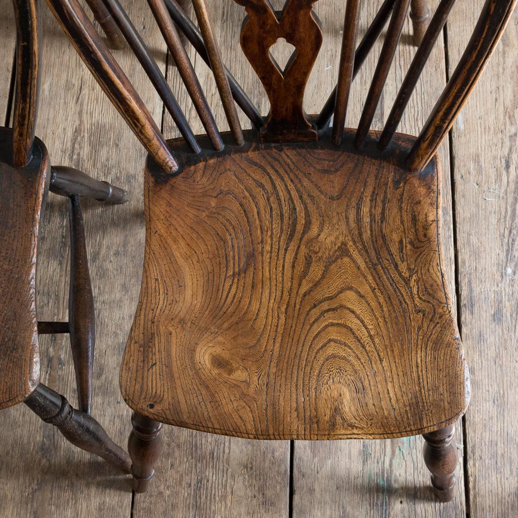Set of four nineteenth century wheelback Windsor chairs,-137958