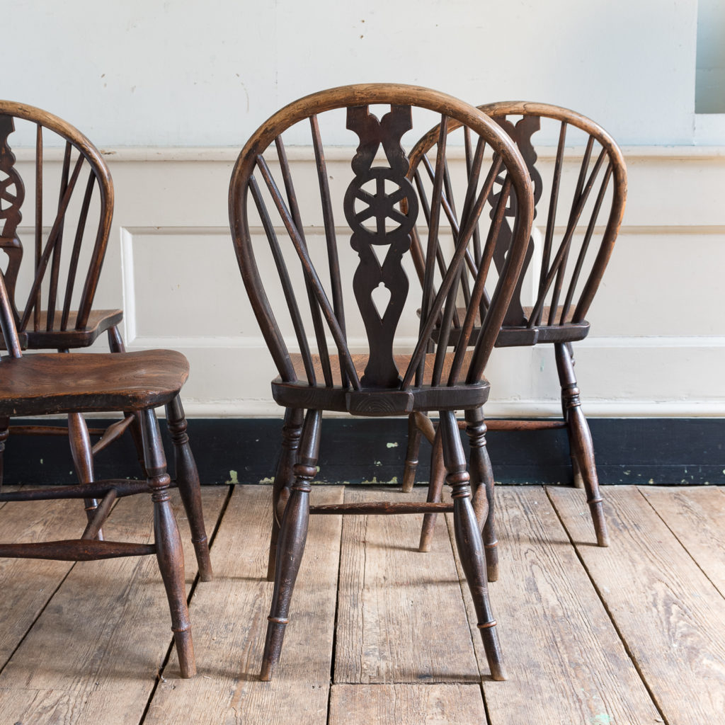 Set of four nineteenth century wheelback Windsor chairs,-137947