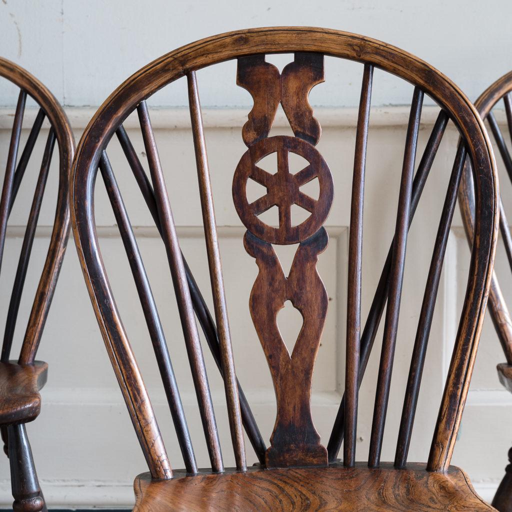 Set of four nineteenth century wheelback Windsor chairs,-137948