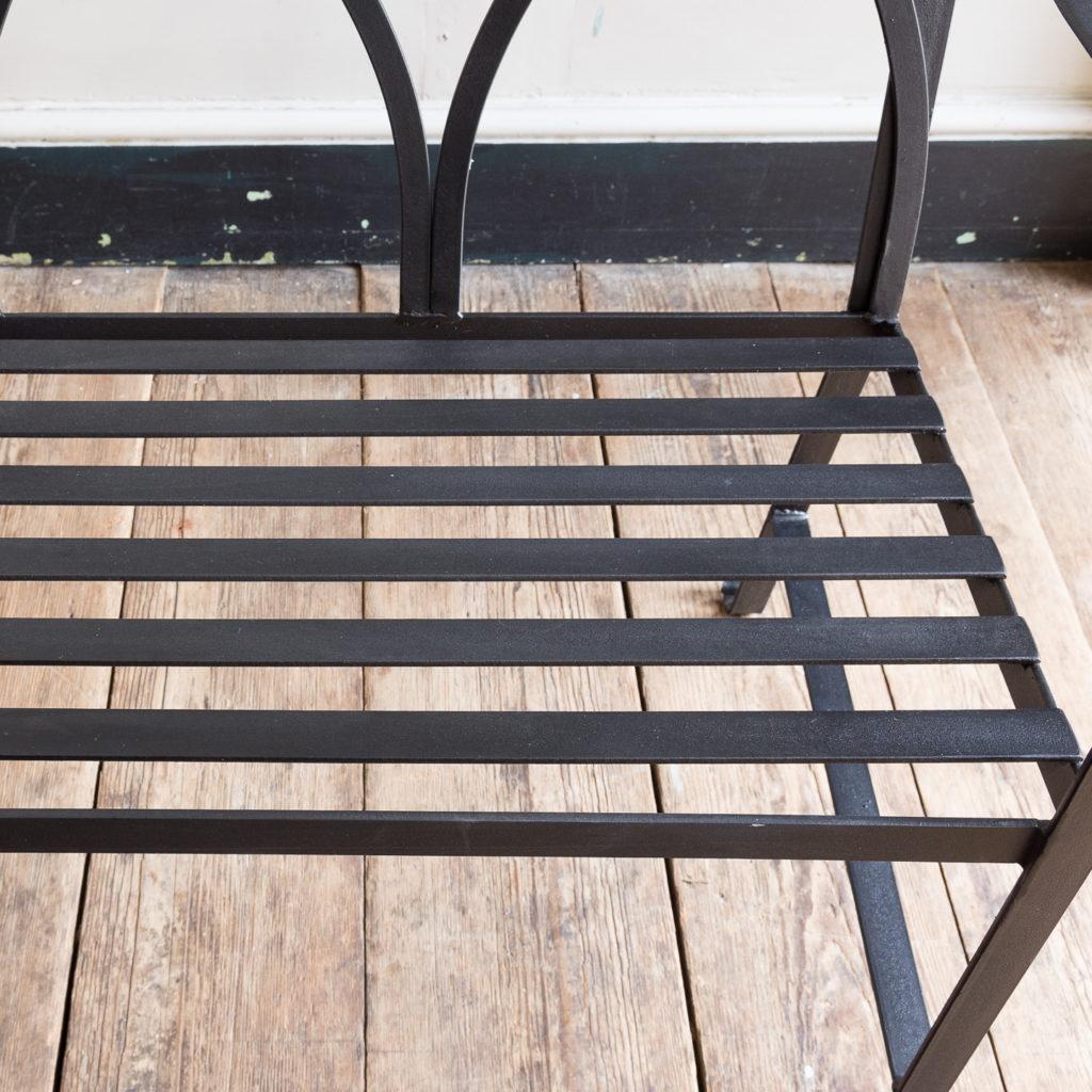 Regency style wrought iron garden bench,-138062