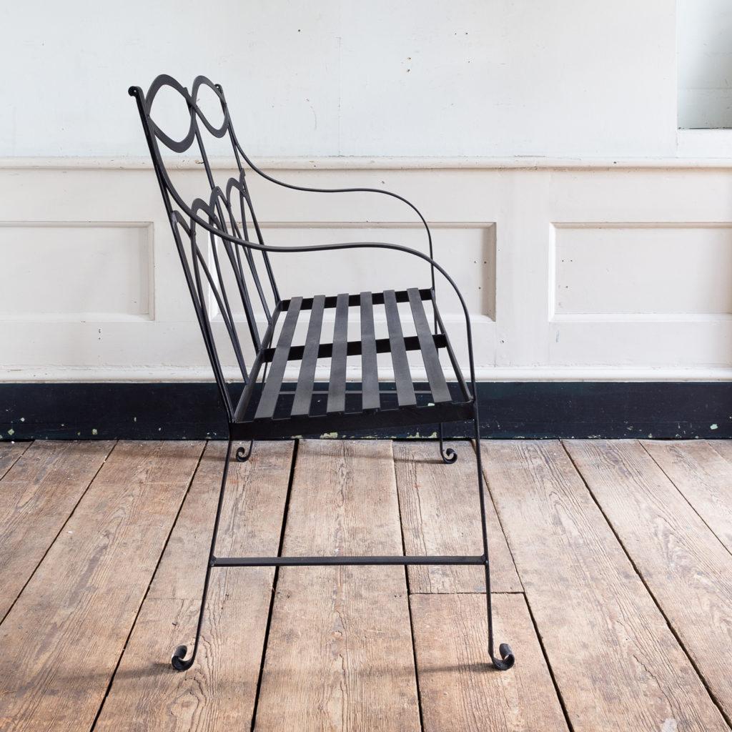 Regency style wrought iron garden bench,-138053