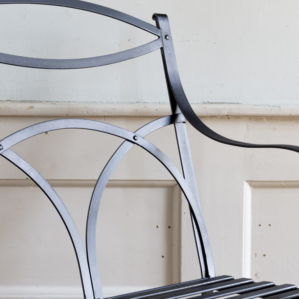 Regency style wrought iron garden bench,-138058
