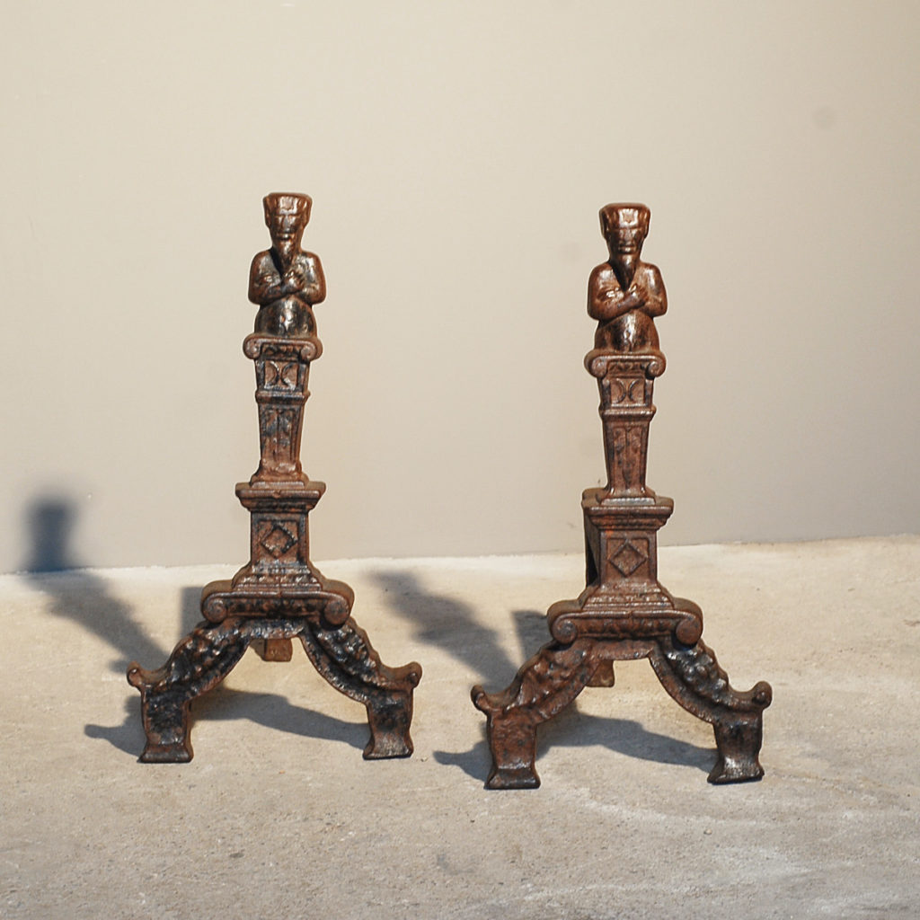 A pair of English cast iron figural andirons-0