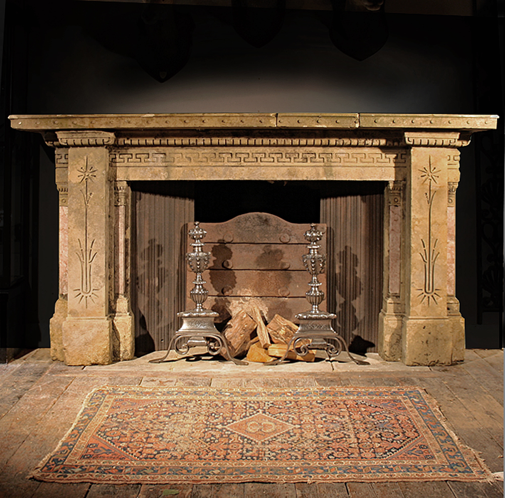 A notable Victorian sandstone chimneypiece, with rouge royale marble details,-0
