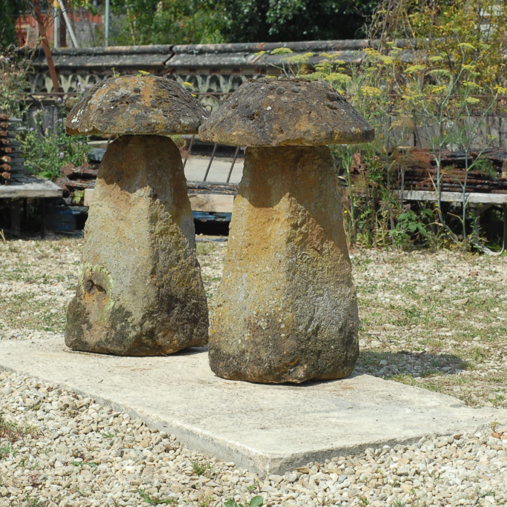 A good pair of ironstone staddle stones-138523