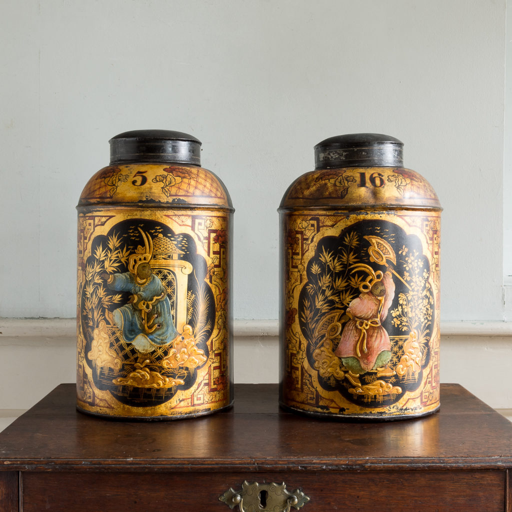 Pair of nineteenth century parcel-gilt tea canisters,
