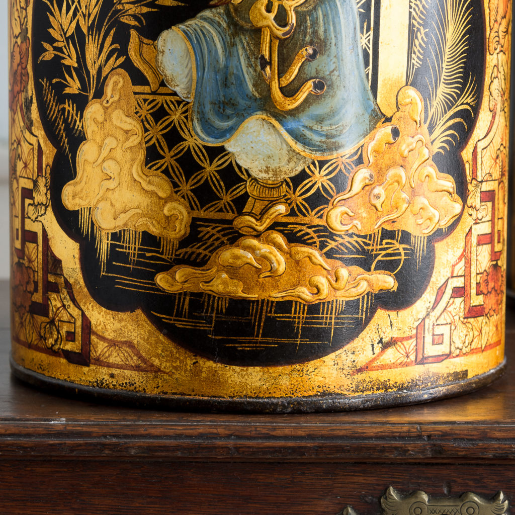 Pair of nineteenth century parcel-gilt tea canisters, -138340