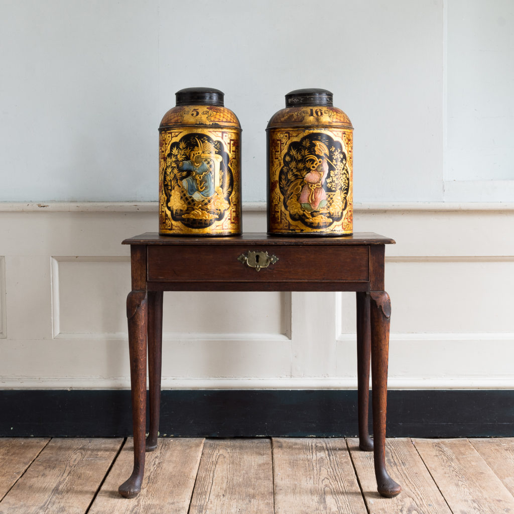Pair of nineteenth century parcel-gilt tea canisters, -138346